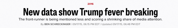 media influence elections politico headline donald trump decline scott walker