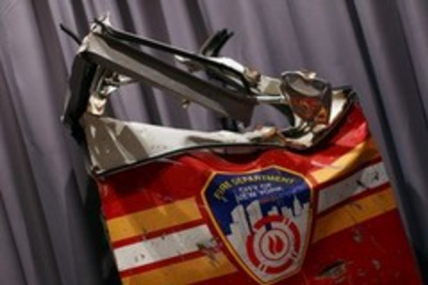 [The door of the Squad 1 fire truck, now on display at the Smithsonian National Museum of American History]