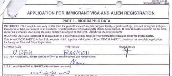 Rasmieh Odeh Case - Visa Application - Trial Exh 2A - Name