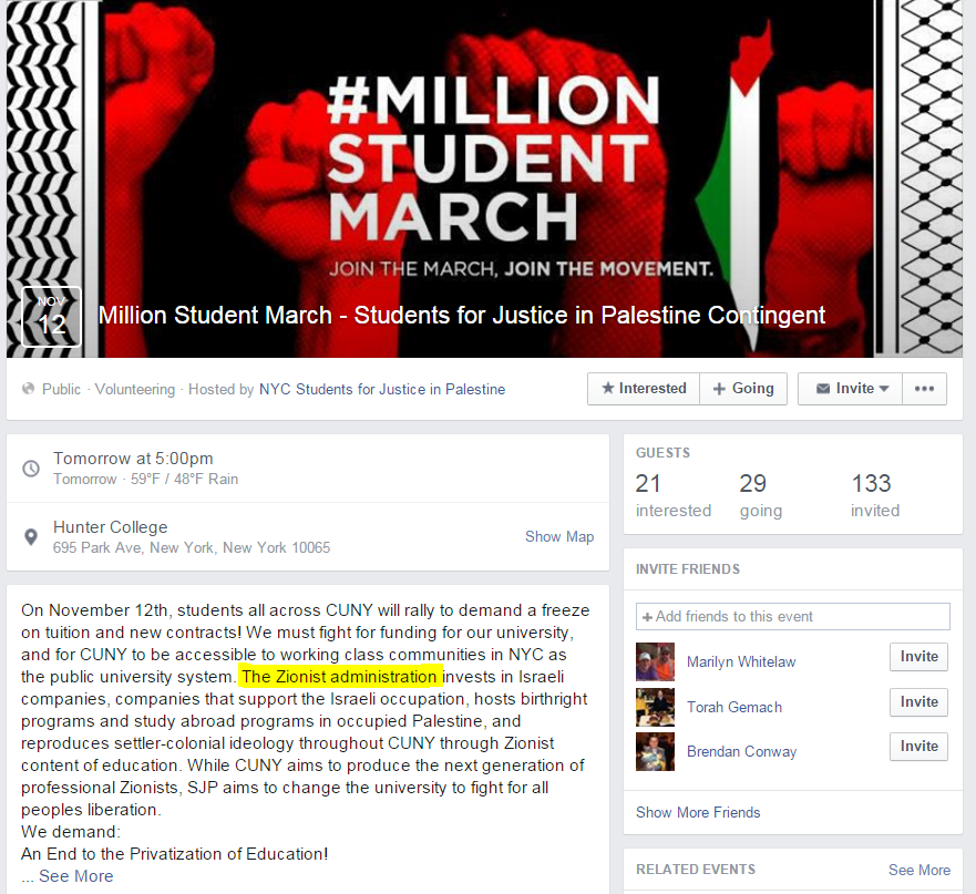 SJP Zionist Tuition Millions Student March page