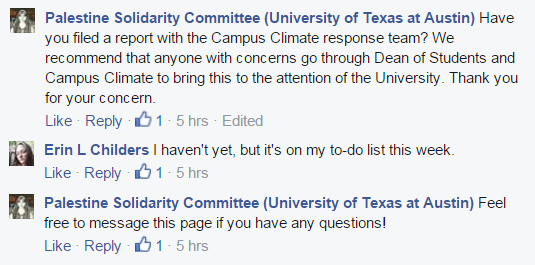 UT Austin Speech Palestine Solidarity Committee Facebook encouraging complaints