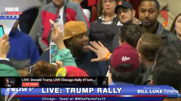 Trump Protest Chicago Man Inside