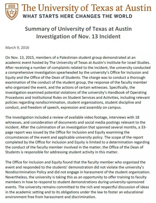 UT Austin Summary Pedahzur March 9 2016