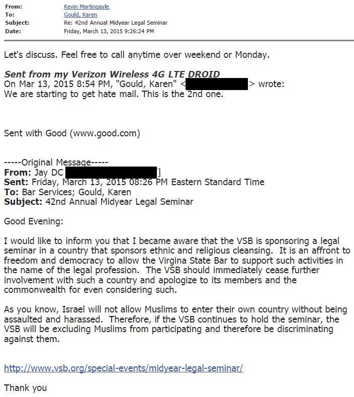 VSB Email 3-13-2015 926 Martingayle re Complaint JayDC