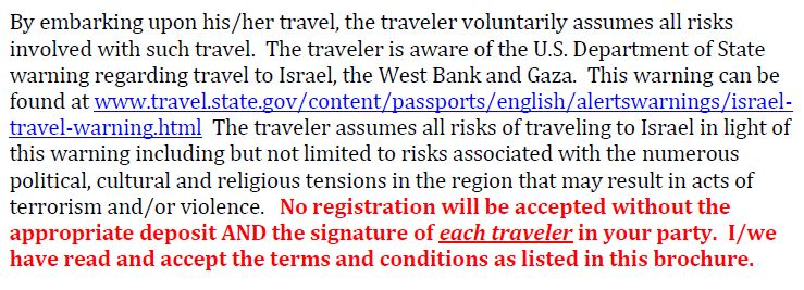 Virginia State Bar Israel Trip Terms and Conditions