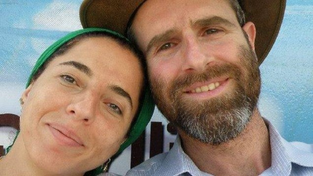 [Dafna Meir, left, with her husband Natan Meir in an undated picture posted on Facebook. (Screen capture: Facebook)]