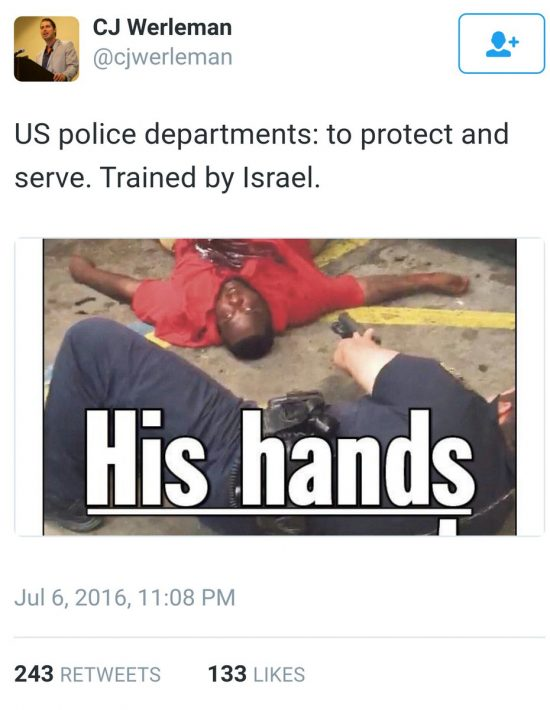 CJ Werleman Twitter Baton Rouge Shooting Israel
