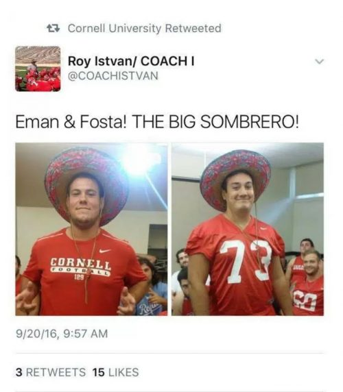 Cornell Coach Sombrero Tweet
