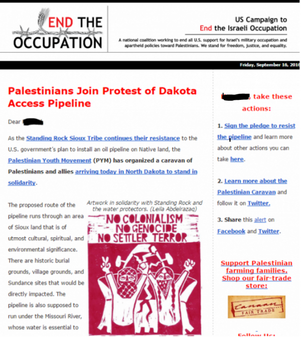 US Campaign Standing Rock Sioux Email