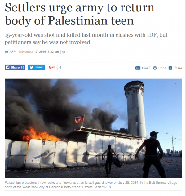 times-of-israel-headline-settlers-ask-army-to-release-body