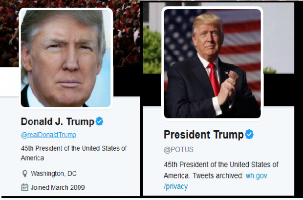 https://twitter.com/realDonaldTrump and https://twitter.com/POTUS