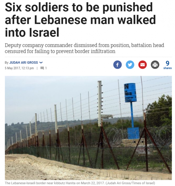 https://www.timesofisrael.com/six-soldiers-to-be-punished-after-lebanese-man-walks-into-israel/