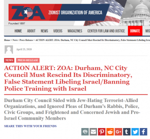 https://zoa.org/2018/04/10377927-action-alert-zoa-durham-nc-city-council-must-rescind-its-discriminatory-false-statement-libeling-israel-banning-police-training-with-israel/