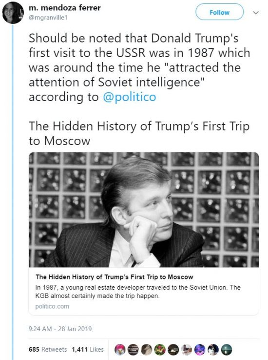 "Should be noted that Donald Trump's first visit to the USSR was in 1987 which was around the time he ""attracted the attention of Soviet intelligence"" according to @politico"