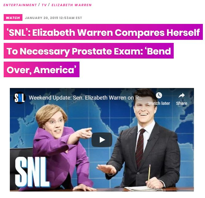 https://hollywoodlife.com/2019/01/20/elizabeth-warren-prostate-exam-snl-weekend-update-video-kate-mckinnon/