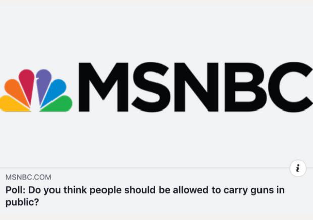 http://www.msnbc.com/msnbc/poll-do-you-think-people-should-be-allowed-carry-guns-public?fbclid=IwAR1iHA9CHU_6NrxQr3EvRUxxdwL6PKRr0dYAjItdgQ6tiupdV5ugHECpzvk